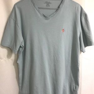 POLO RALPH LAUREN V-Neck T-Shirt Light Blue (M)